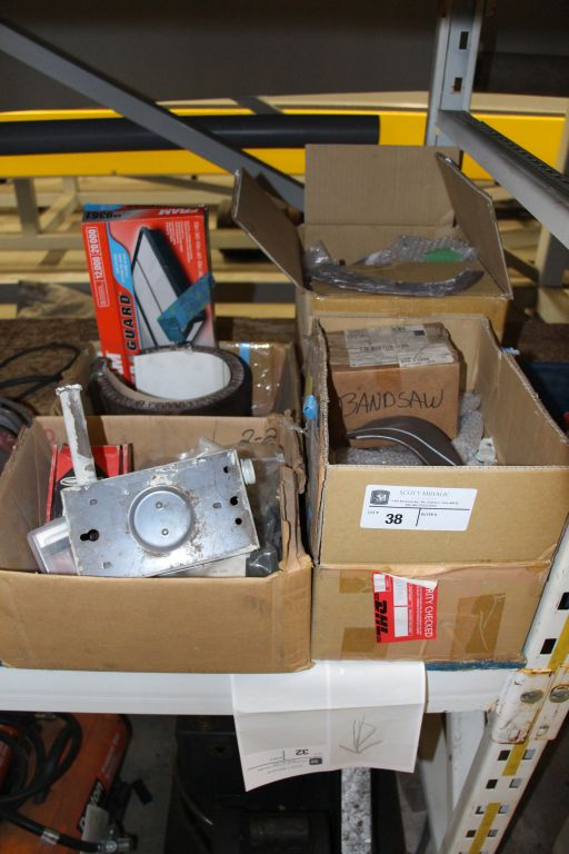 Lot 38 - Misc. Rototiller Blades, band saw equipment & misc.