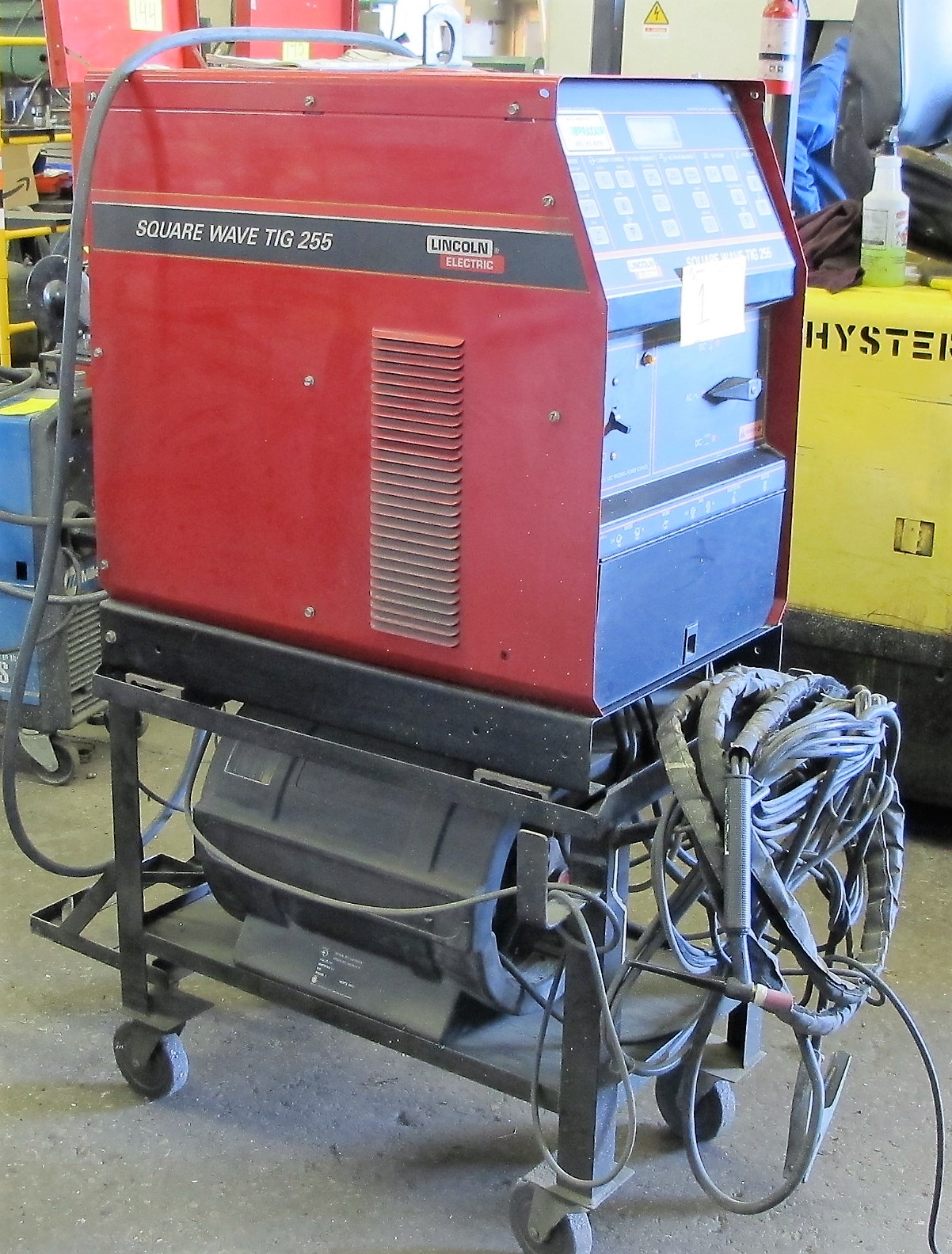 LINCOLN ELECTRIC SQUARE WAVE TIG 255 WELDER W/LA105939 COOLING SYSTEM, CART AND CABLES - Image 2 of 4
