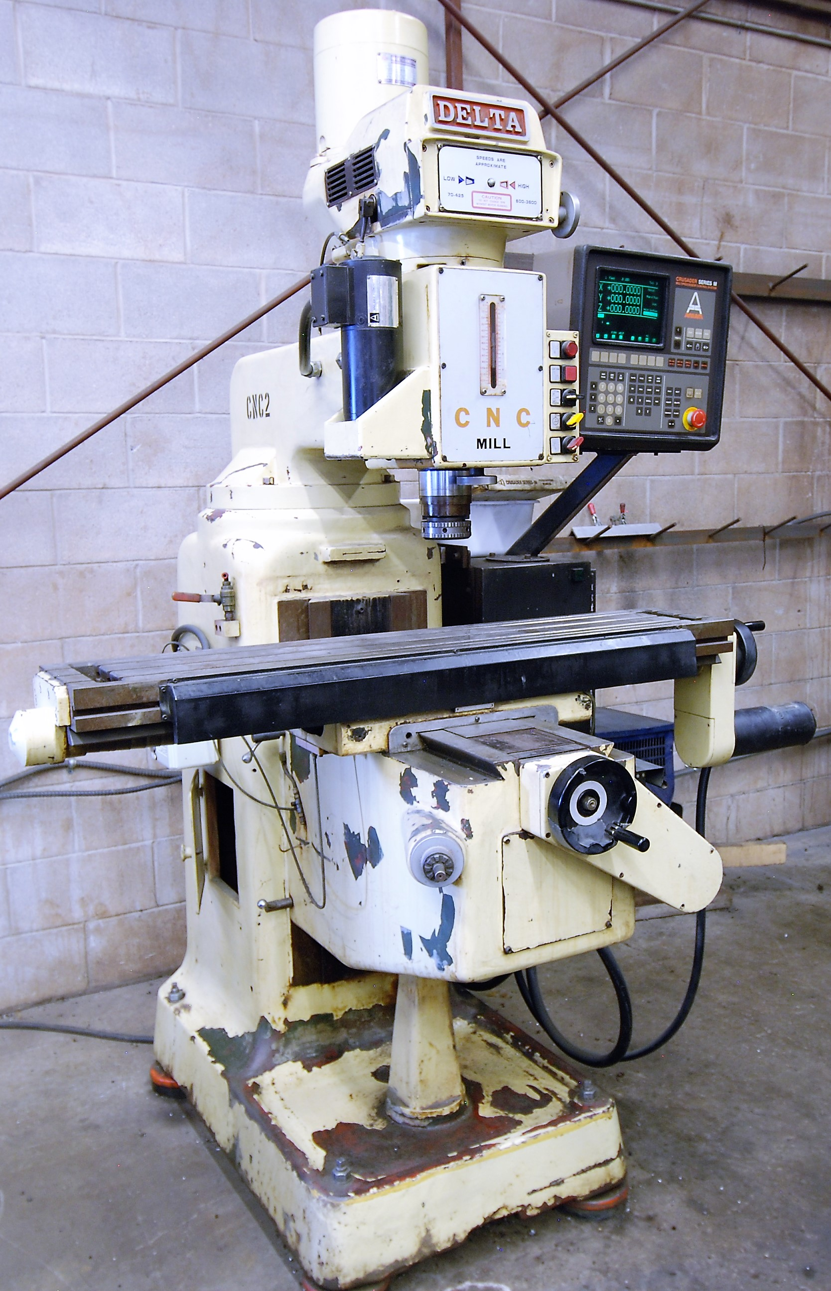 """DELTACNC VERTICAL MILLING MACHINE, ANILAM CRUSADER SERIES M CNC CONTROL, 10"""" x 52"""" TABLE, 3,600"""