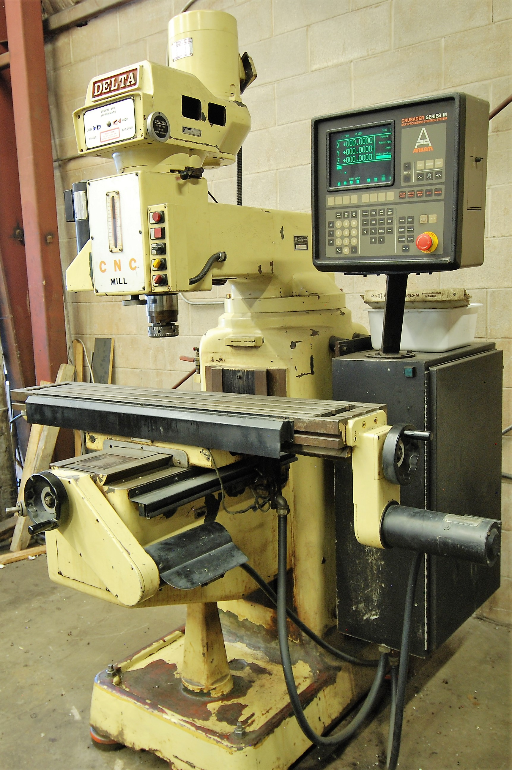 """DELTACNC VERTICAL MILLING MACHINE, ANILAM CRUSADER SERIES M CNC CONTROL, 10"""" x 52"""" TABLE, 3,600 - Image 2 of 7"""