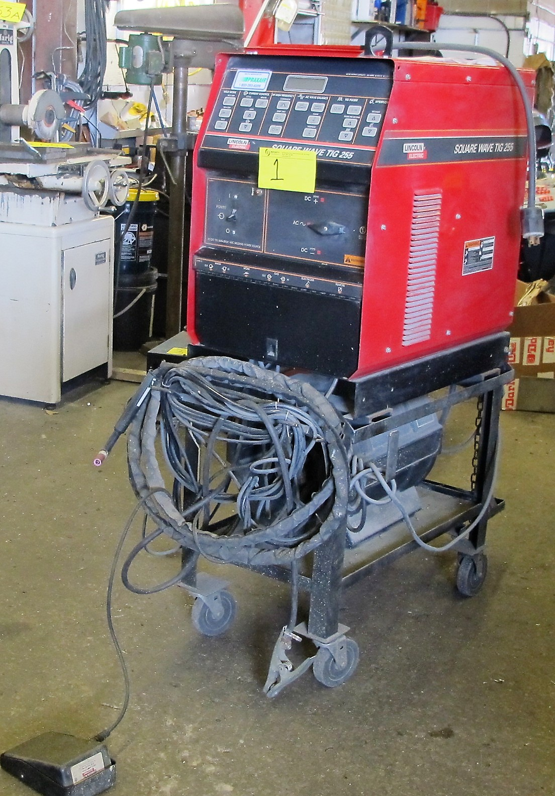 LINCOLN ELECTRIC SQUARE WAVE TIG 255 WELDER W/LA105939 COOLING SYSTEM, CART AND CABLES