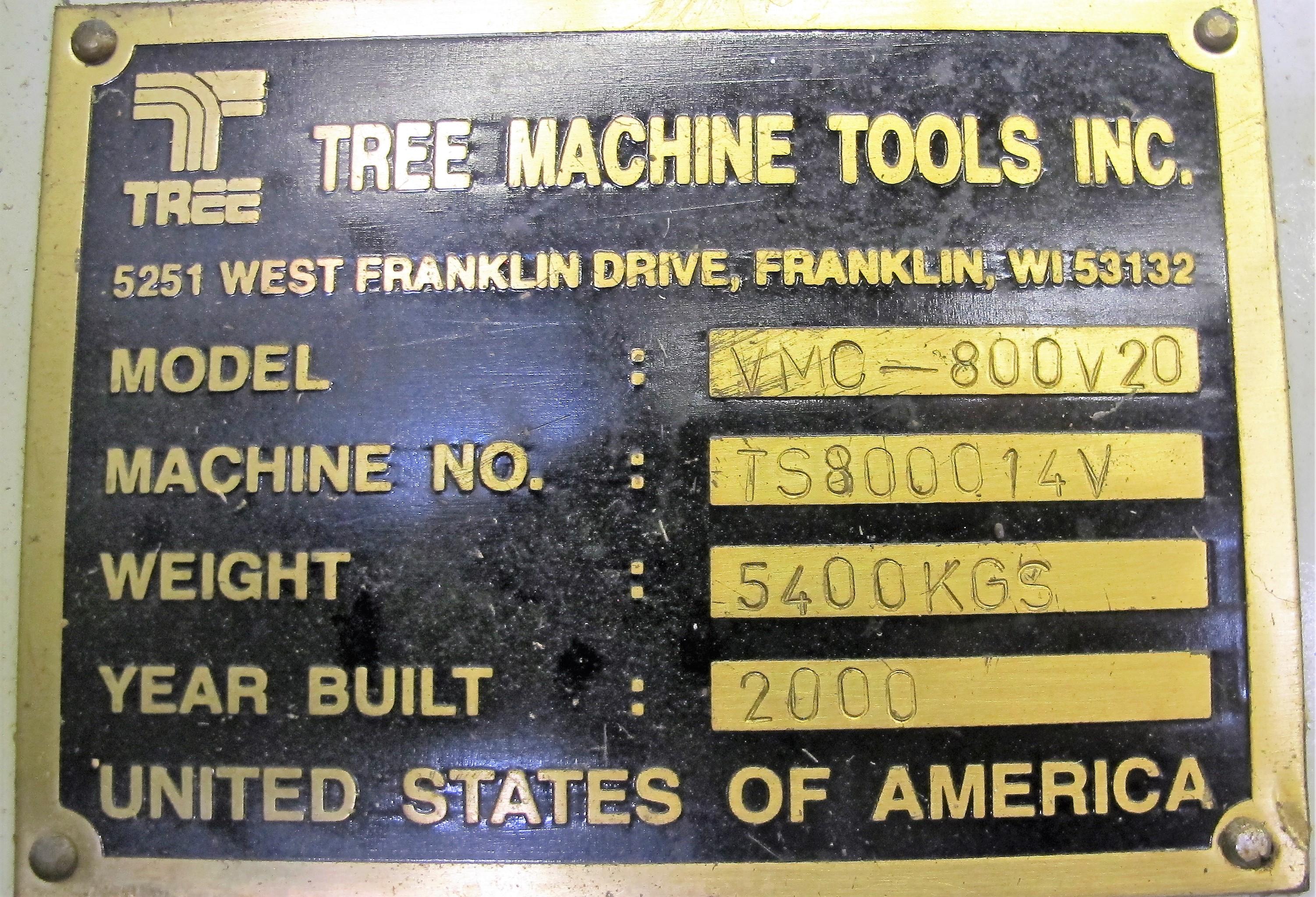 "TREEVMC 800/20 CNC VERTICAL MACHINING CENTER, S/N TS80900014U, PC-2100 CNC CONTROL, ATC, 25"" x - Image 12 of 16"