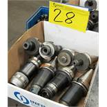 LOT OF 8 BT40 TOOL HOLDERS W/ATTACHMENTS