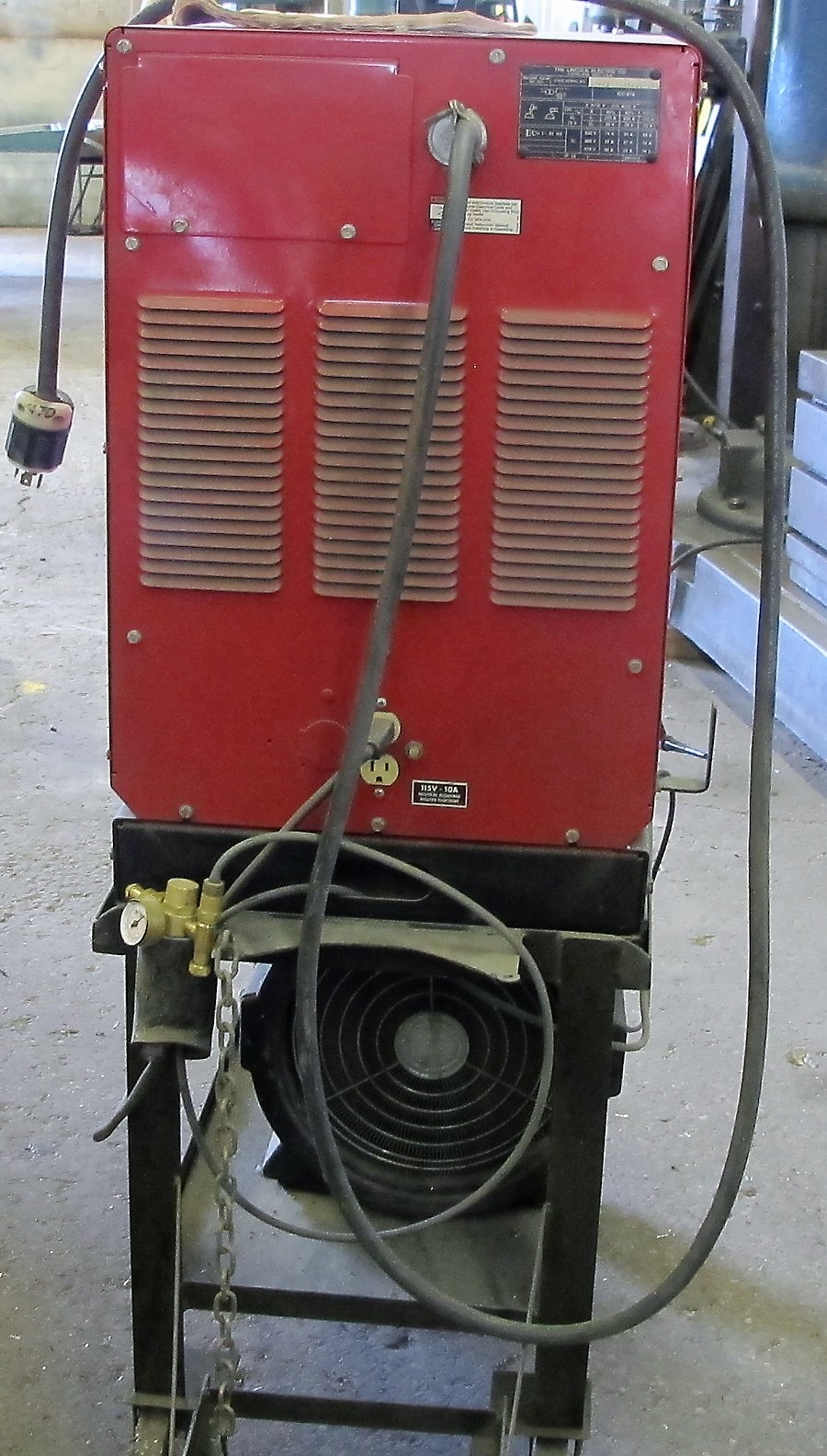 LINCOLN ELECTRIC SQUARE WAVE TIG 255 WELDER W/LA105939 COOLING SYSTEM, CART AND CABLES - Image 3 of 4