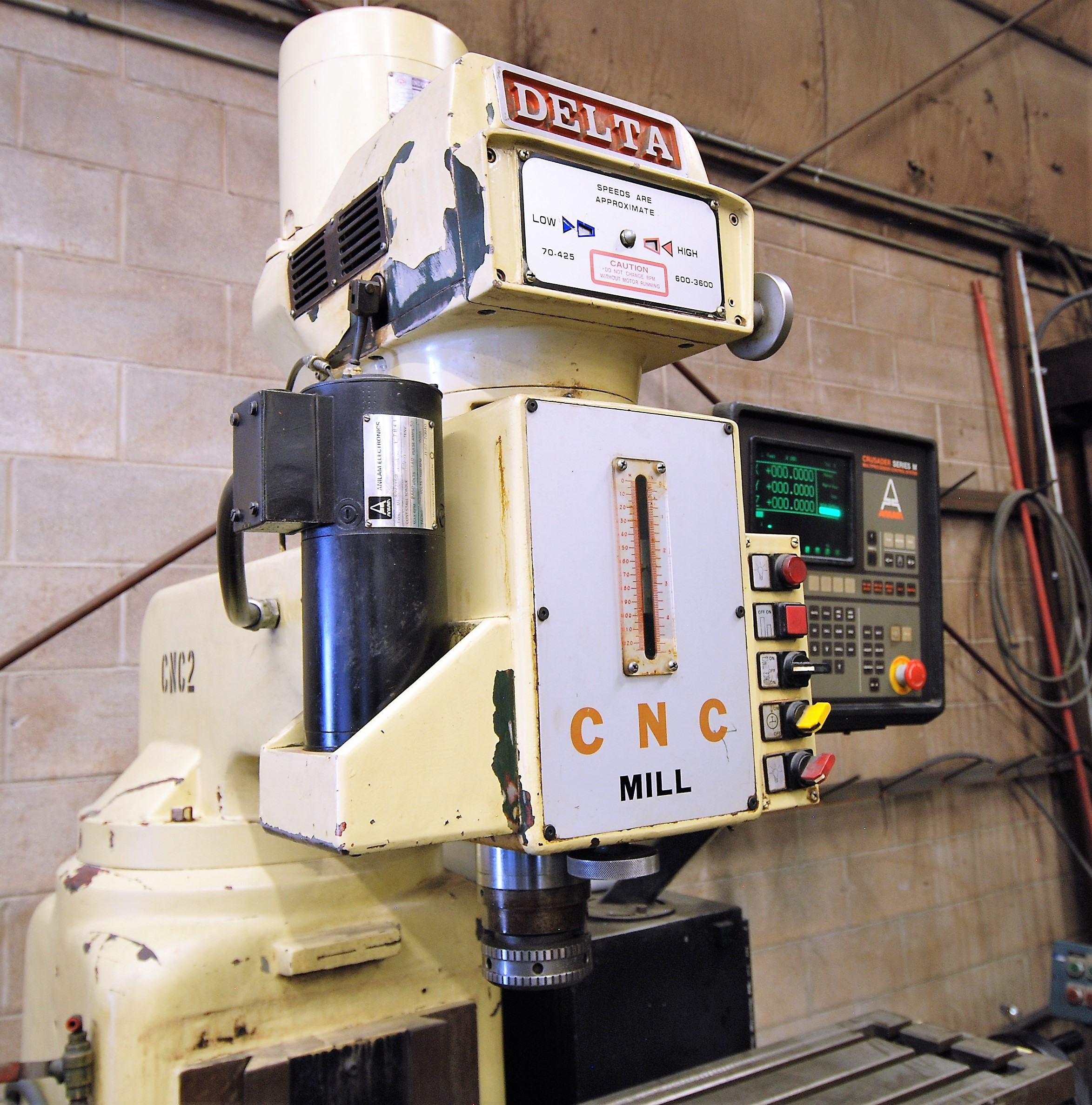 """DELTACNC VERTICAL MILLING MACHINE, ANILAM CRUSADER SERIES M CNC CONTROL, 10"""" x 52"""" TABLE, 3,600 - Image 4 of 7"""