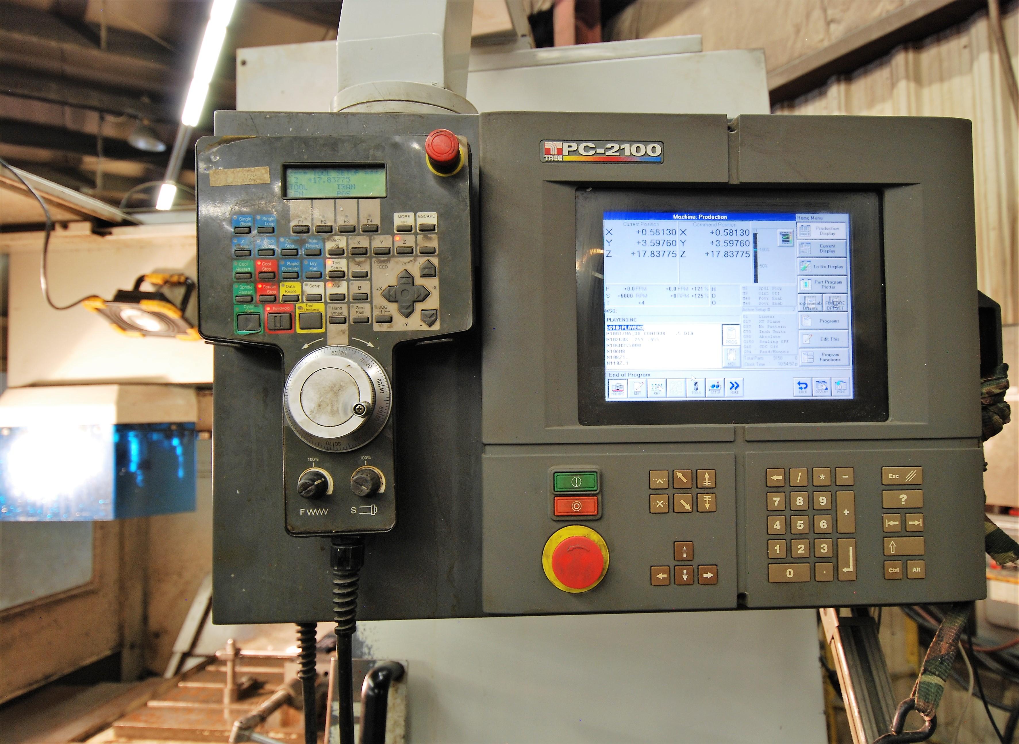 "TREEVMC 800/20 CNC VERTICAL MACHINING CENTER, S/N TS80900014U, PC-2100 CNC CONTROL, ATC, 25"" x - Image 3 of 16"