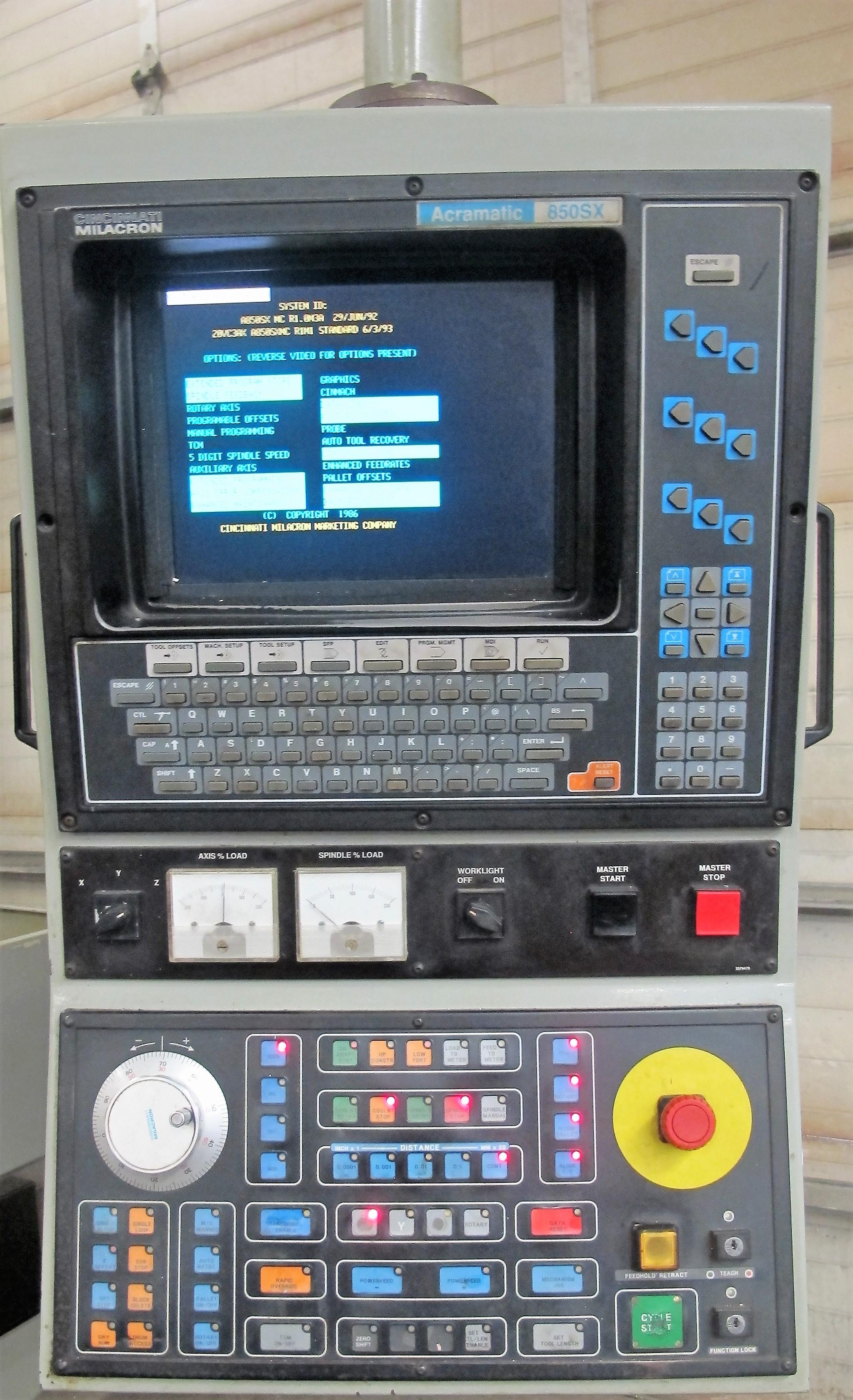 "CINCINNATI MILACRON20VC CNC VERTICAL MILLING MACHINING, 80"" x 30"" TABLE, ACRAMATIC 850SX CNC - Image 6 of 20"