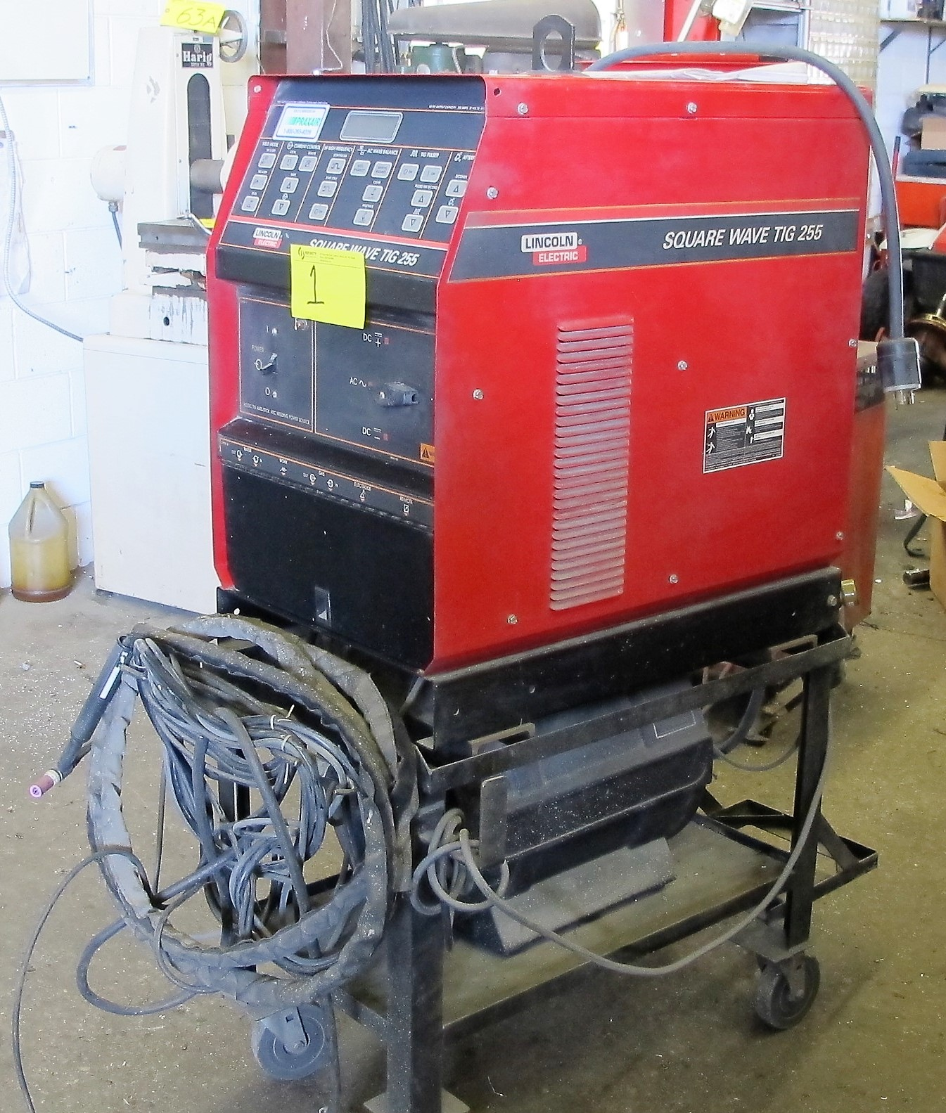 LINCOLN ELECTRIC SQUARE WAVE TIG 255 WELDER W/LA105939 COOLING SYSTEM, CART AND CABLES - Image 4 of 4