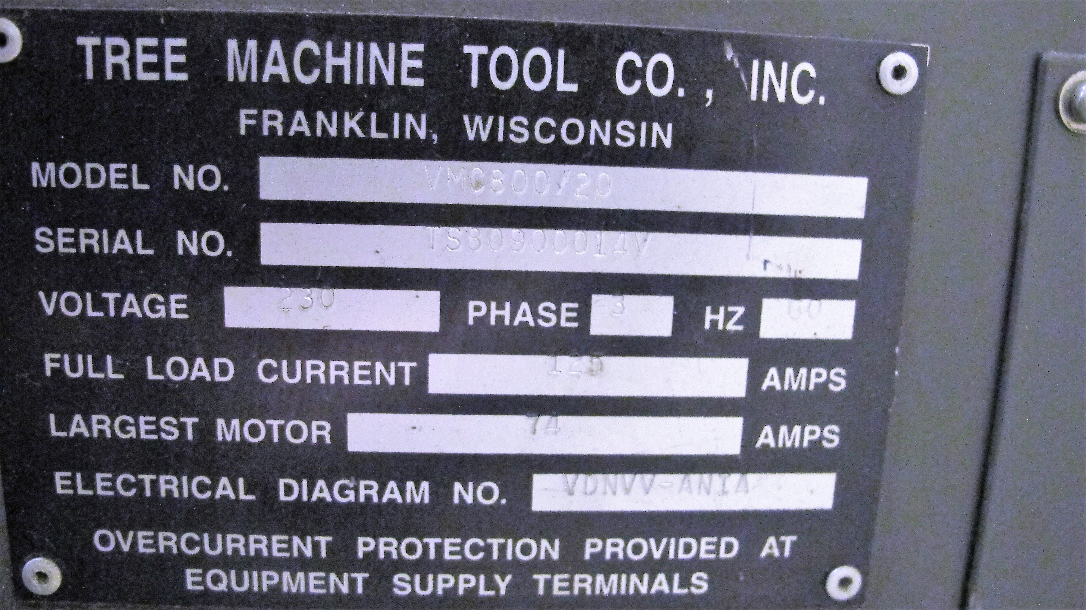 "TREEVMC 800/20 CNC VERTICAL MACHINING CENTER, S/N TS80900014U, PC-2100 CNC CONTROL, ATC, 25"" x - Image 11 of 16"