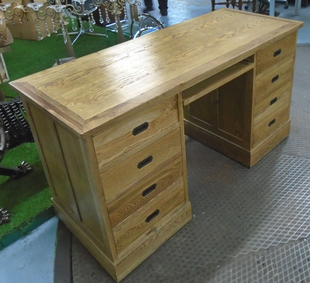 desk with six drawers in oak with military style handles in antique effect finish 163cm x 58cm. Black Bedroom Furniture Sets. Home Design Ideas