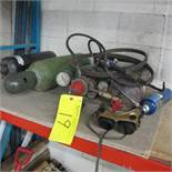TORCH, REGULATOR, CABLES, 6 TANKS AND EYE PROTECTING MASK