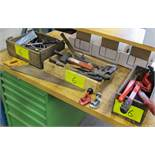 LOT OF 3 WOOD CRATES W/HAND TOOLS, PIPE CUTTERS, SAWS, PIPE WRENCH, HAMMERS, FILES, DRIVERS, ETC
