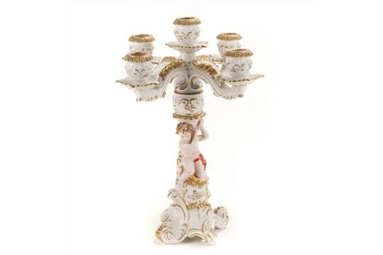Five lights candelabra in capodimonte porcelain marks altavistaventures Images