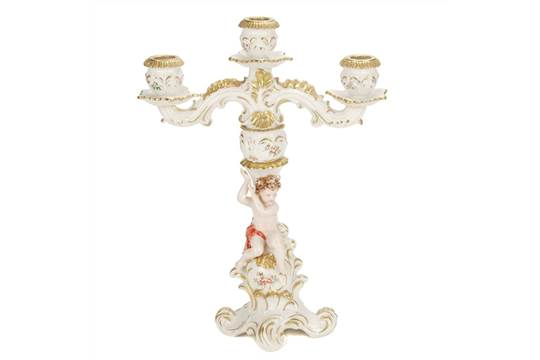 Three lights candelabra in capodimonte porcelain whit fine gold three lights candelabra in capodimonte porcelain whit fine gold decoration marksh35 cms altavistaventures Images