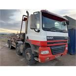 DAF 8x4 hook-bin Ro-Ro skip lorry, Model FAD CF85.410, registration number L800 JGW, 500,000