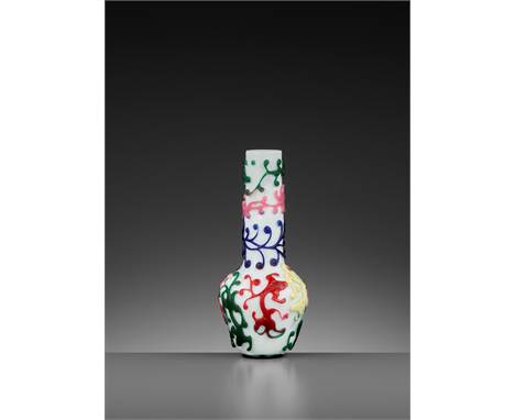 A FIVE-COLOR OVERLAY GLASS 'CHILONG' BOTTLE VASE, QIANLONG MARK AND PERIODChina, 1736-1795. Finely carved through a single tr