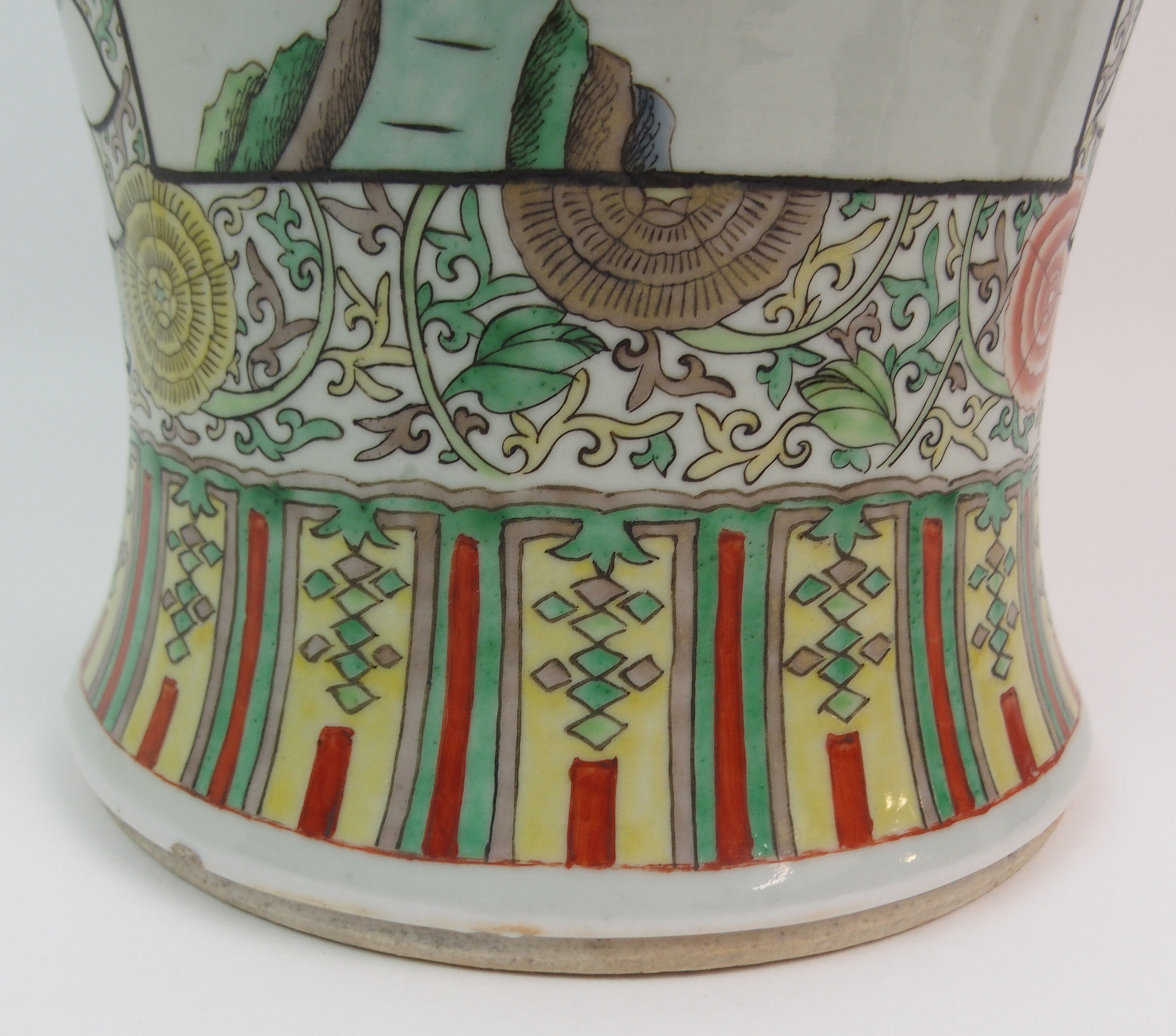 A CHINESE FAMILLE VERTE LARGE BALUSTER VASE painted with panels of figures surrounded by flowers and - Image 4 of 10