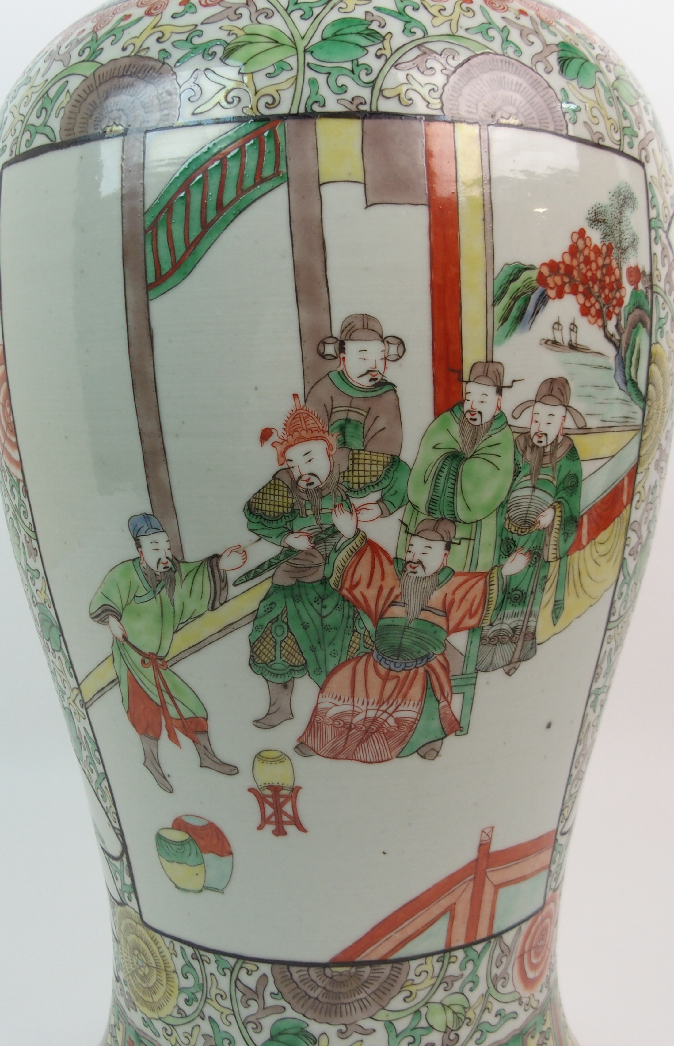 A CHINESE FAMILLE VERTE LARGE BALUSTER VASE painted with panels of figures surrounded by flowers and - Image 7 of 10