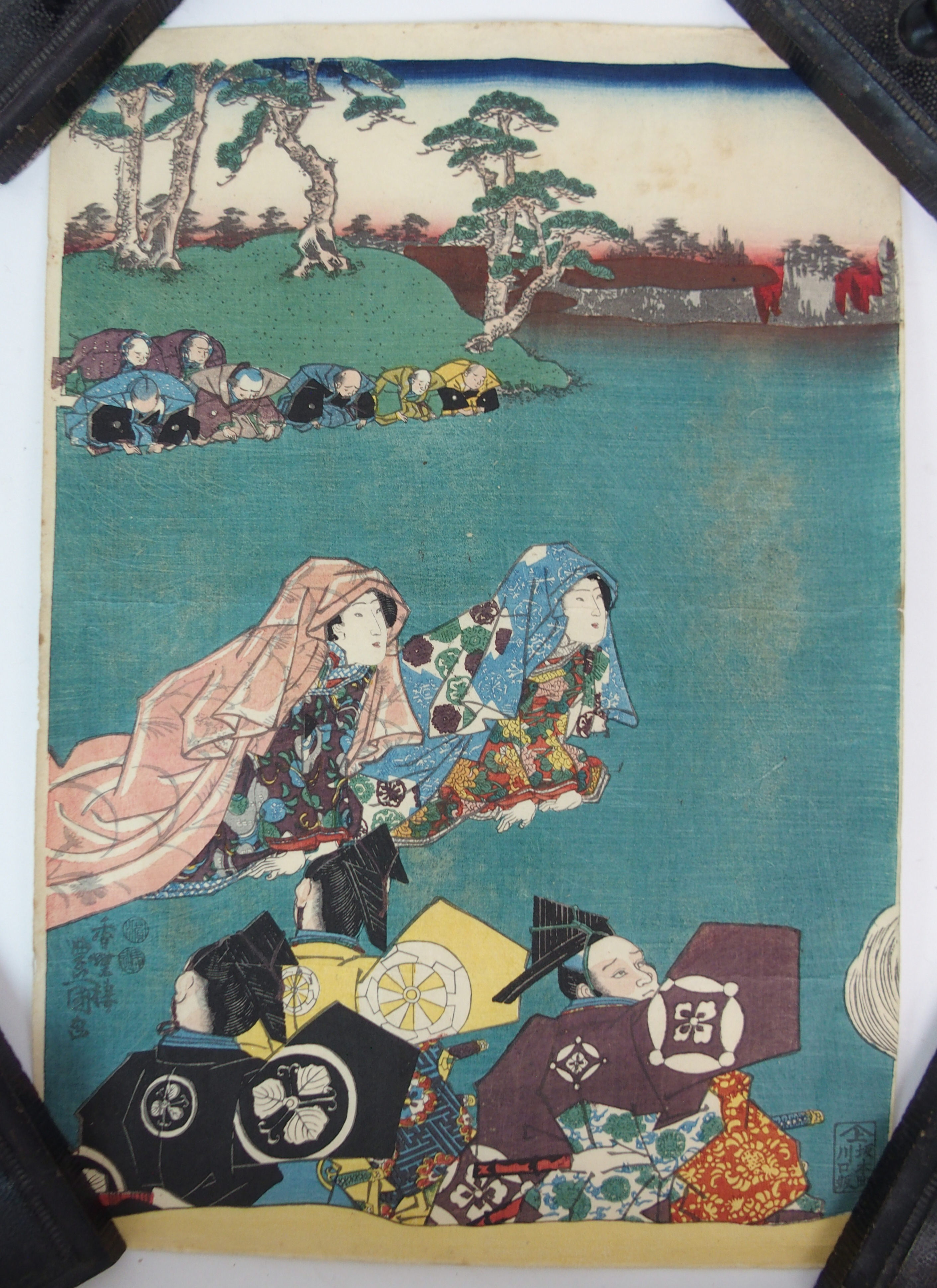 Lot 25 - JAPANESE SCHOOL three triptych of beauties, 36cm x 72cm, 37cm x 74cm and 37.5cm x 76cm together with