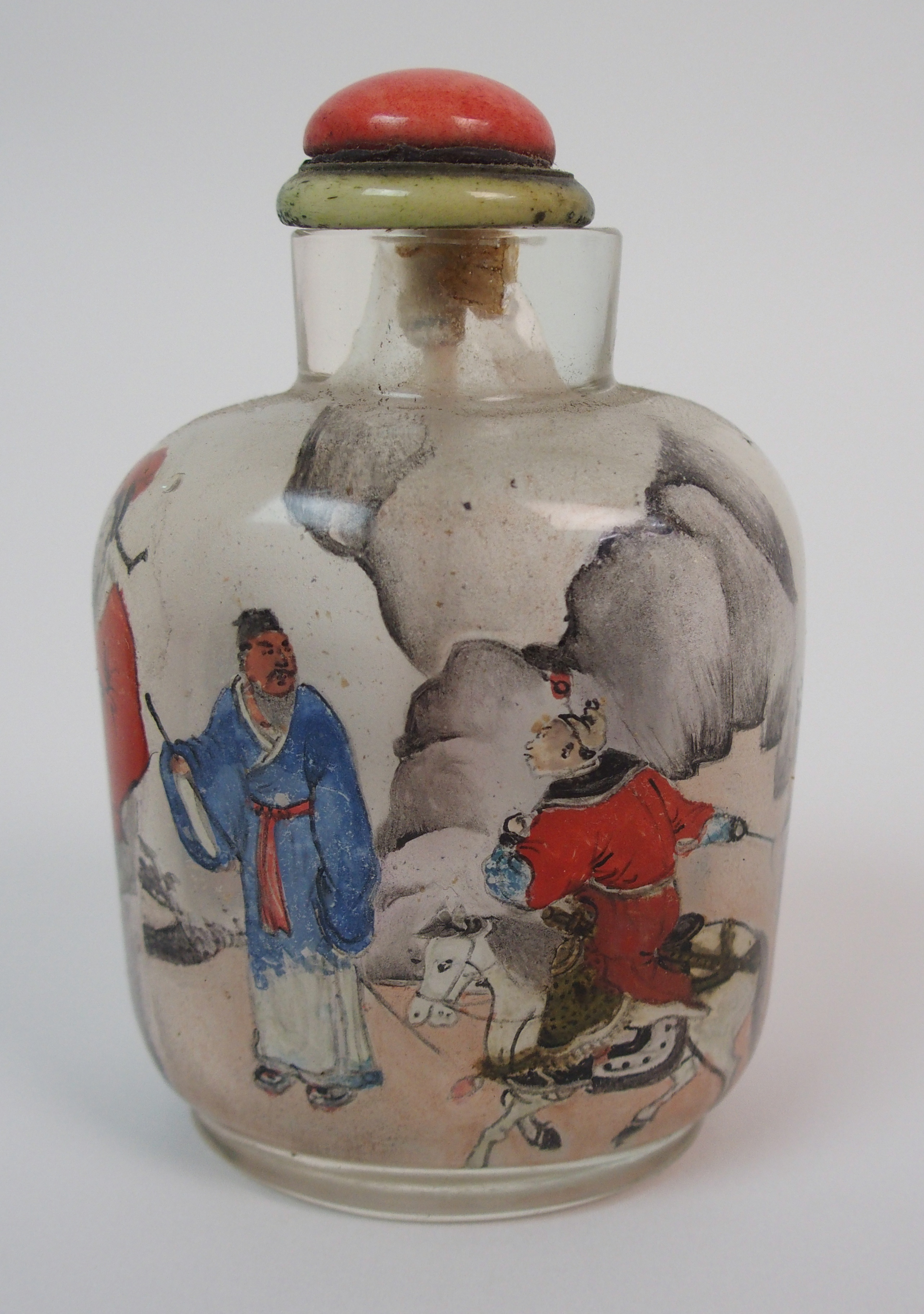 Lot 46 - A CHINESE INSIDE PAINTED SNUFF BOTTLE painted with figures meeting before a river, signed, 8.5cm