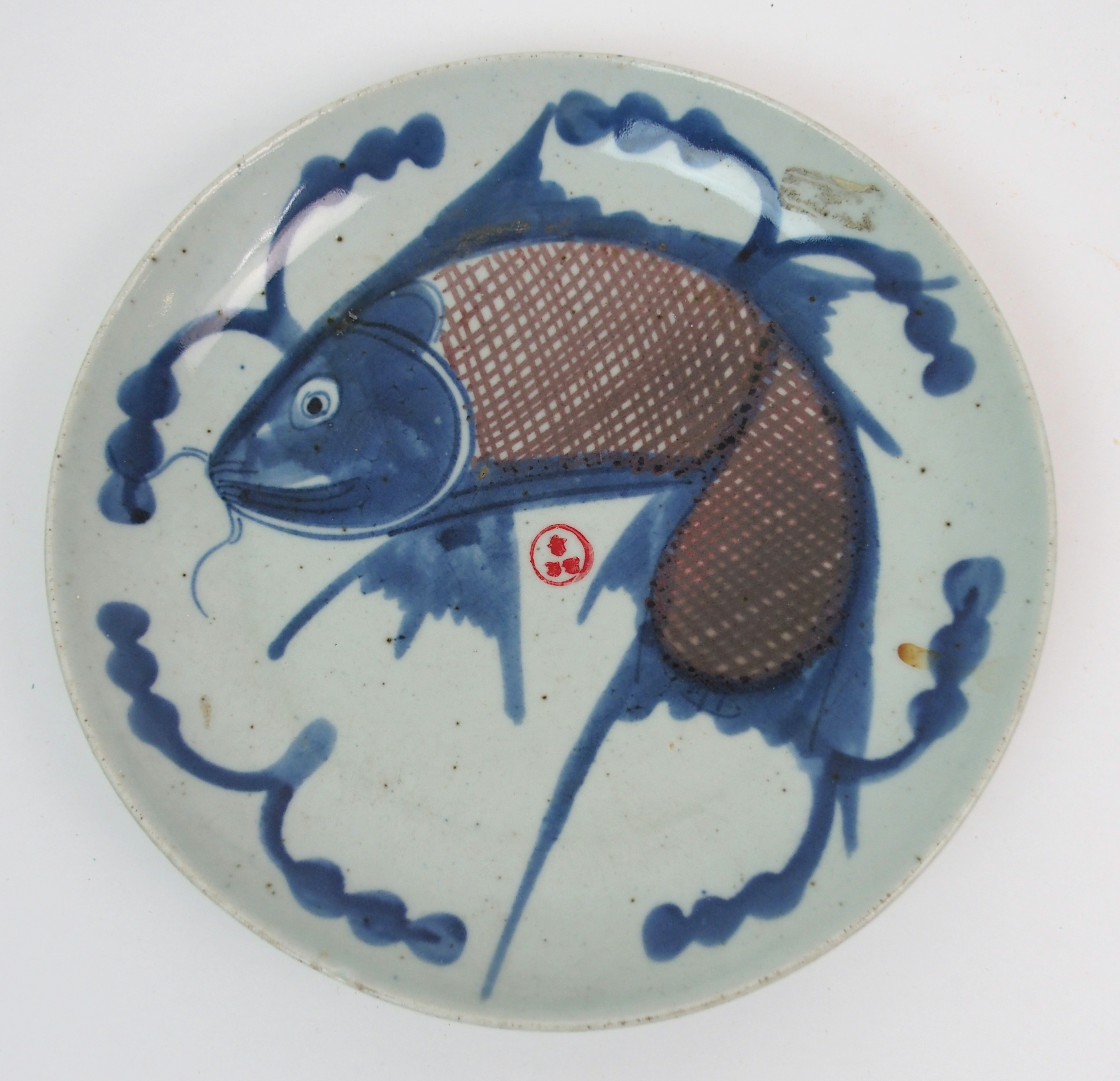 Lot 15 - A CHINESE EXPORT BLUE AND WHITE OCTAGONAL ASHET painted with pavilions on islands, 35cm wide, a