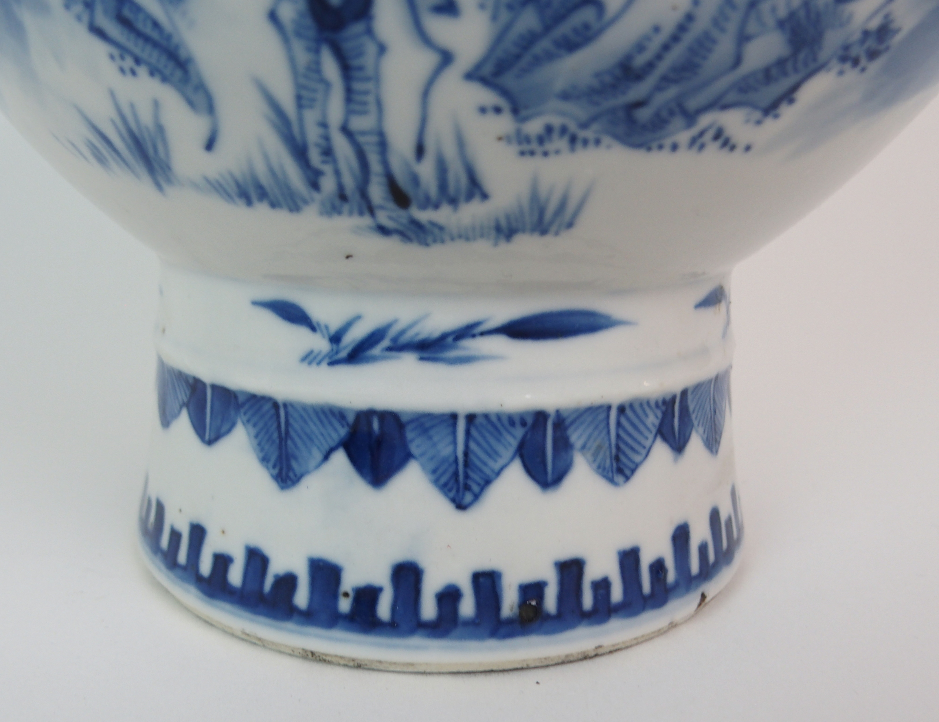 Lot 19 - A CHINESE BLUE AND WHITE BALUSTER VASE painted with birds and butterflies amongst peonies beneath