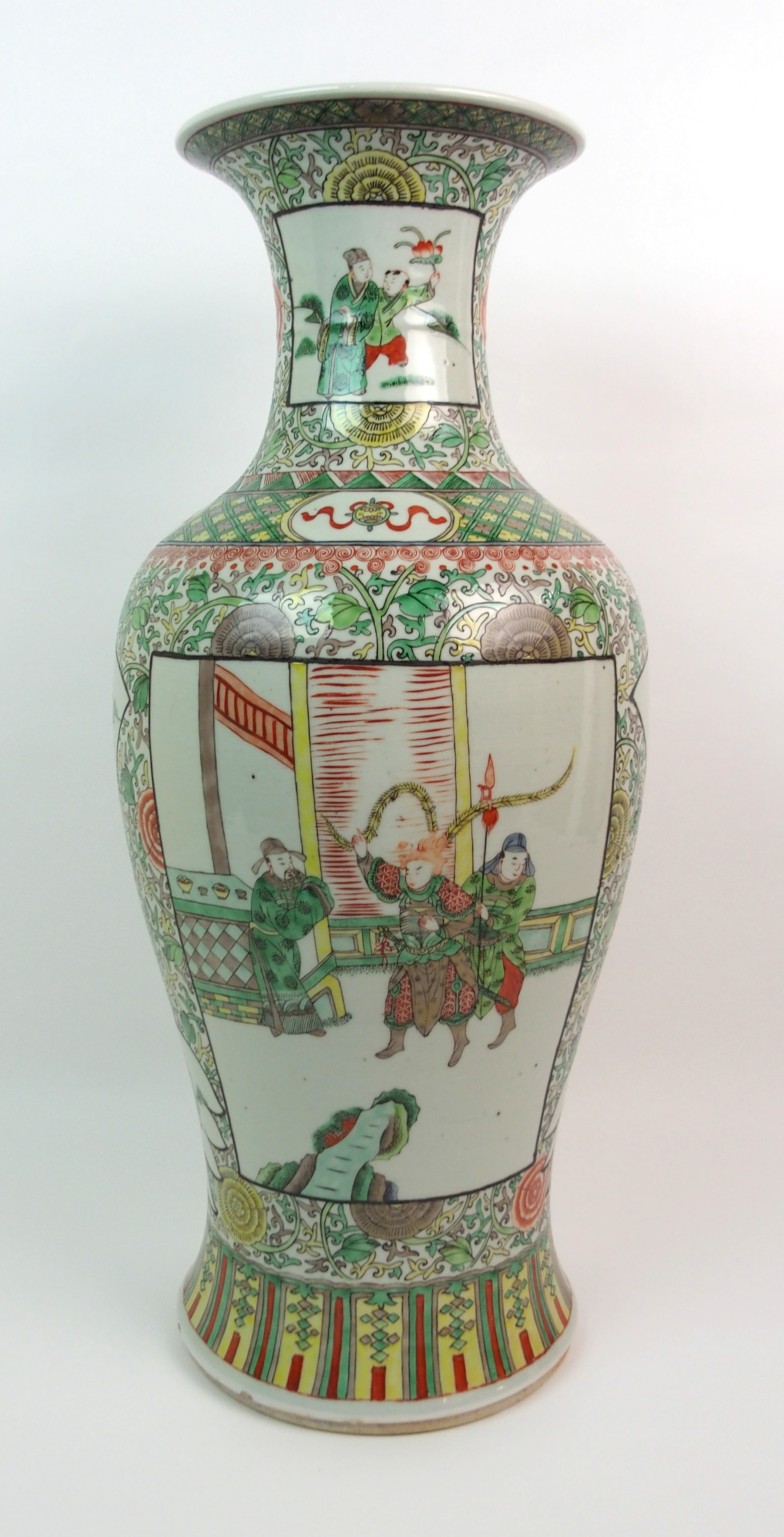 Lot 41 - A CHINESE FAMILLE VERTE LARGE BALUSTER VASE painted with panels of figures surrounded by flowers and