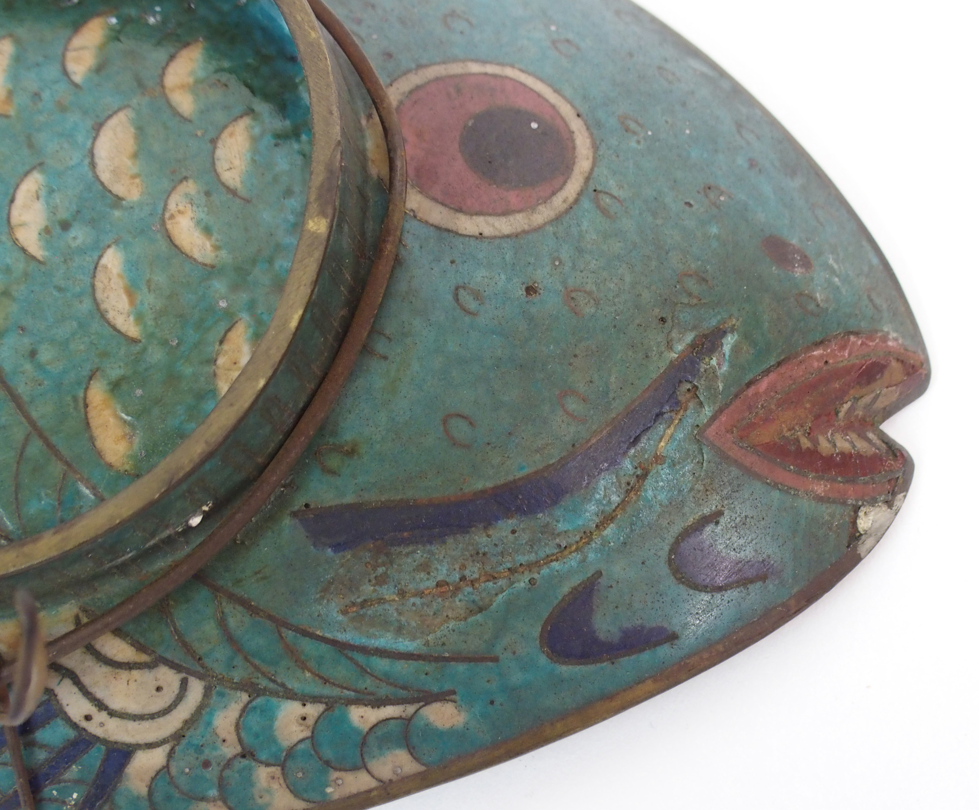 Lot 2 - A CHINESE CLOISONNE DISH formed as a fish decorated with a lily, 47cm wide and a large circular