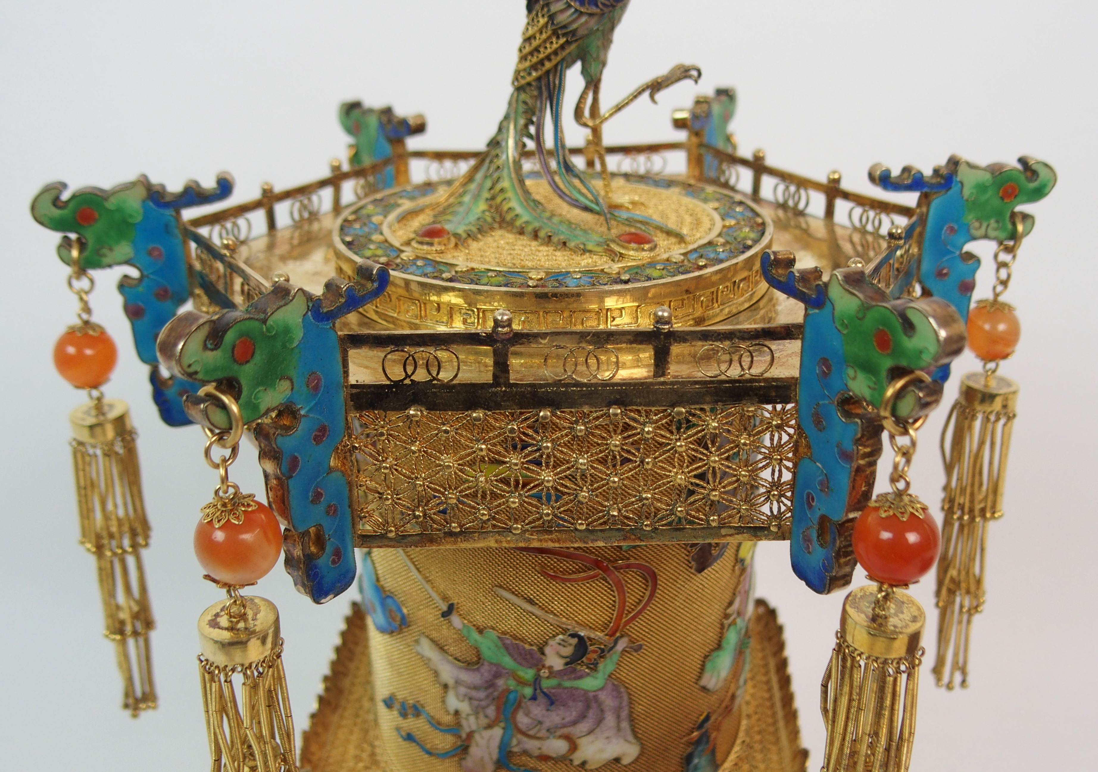 Lot 56 - A CHINESE GILT METAL, ENAMEL AND HARDSTONE HEXAGONAL PAGODA CENSER decorated with a peacock finial