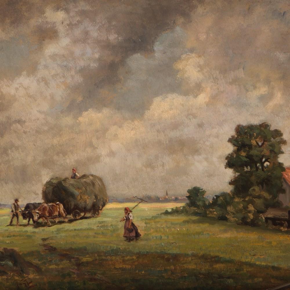 Lot 36 - Benno Kögl, Oil on Wood, Hay Harvest, Germany, around 1950  Oil on wood Germany, around 1950