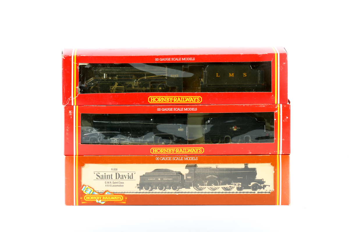 Lot 40 - 3 Hornby Railways tender locomotives. An LMS class 8F 2-8-0 RN8193 R315 in unlined black livery. A