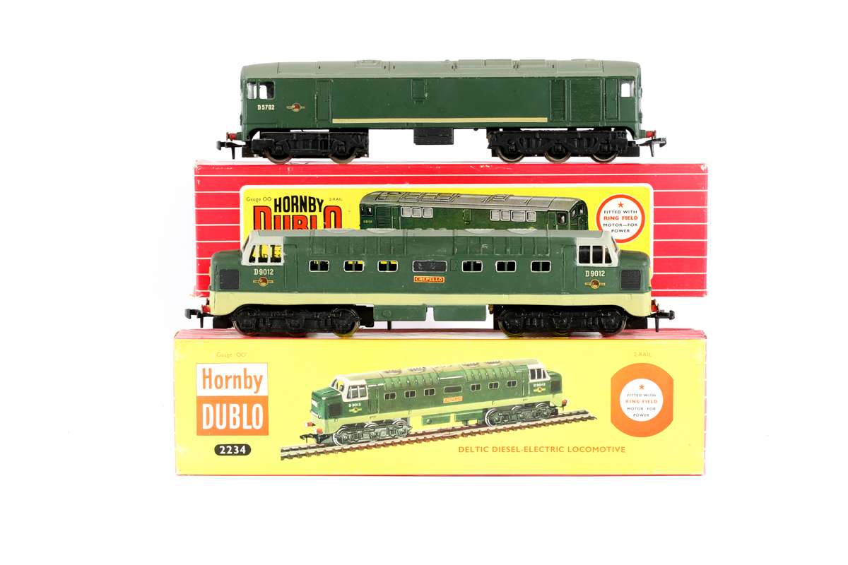 Lot 32 - 2 Hornby Dublo 2-rail locomotives. A BR Deltic Co-Co diesel (2234) 'Crepello' RND9012 in two tone