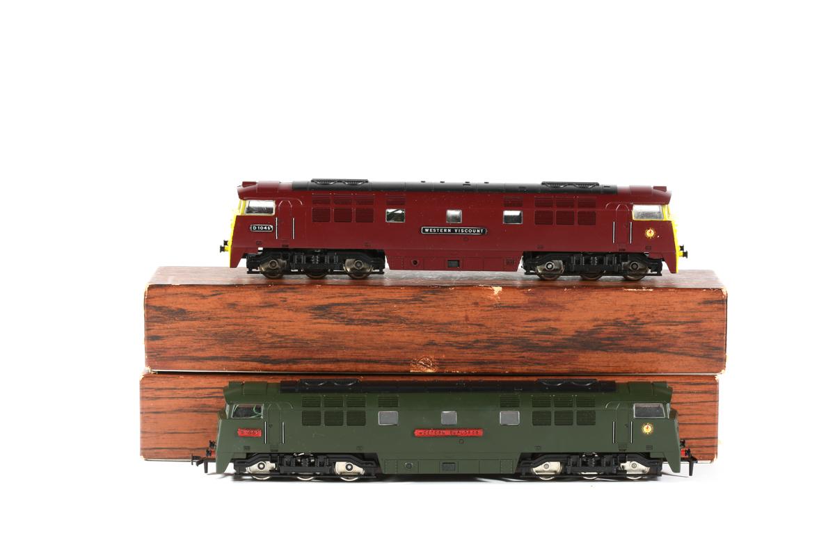Lot 23 - 2x Liliput BR Western Class 52 Co-Co diesel hydraulic locomotives. 'Western Explorer' RN D1002 in