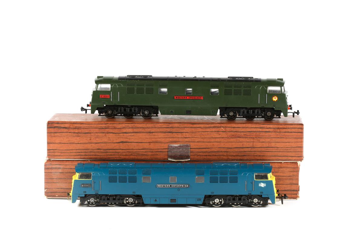 Lot 22 - 2x Liliput BR Western Class 52 Co-Co diesel hydraulic locomotives. 'Western Enterprise' RN D1000
