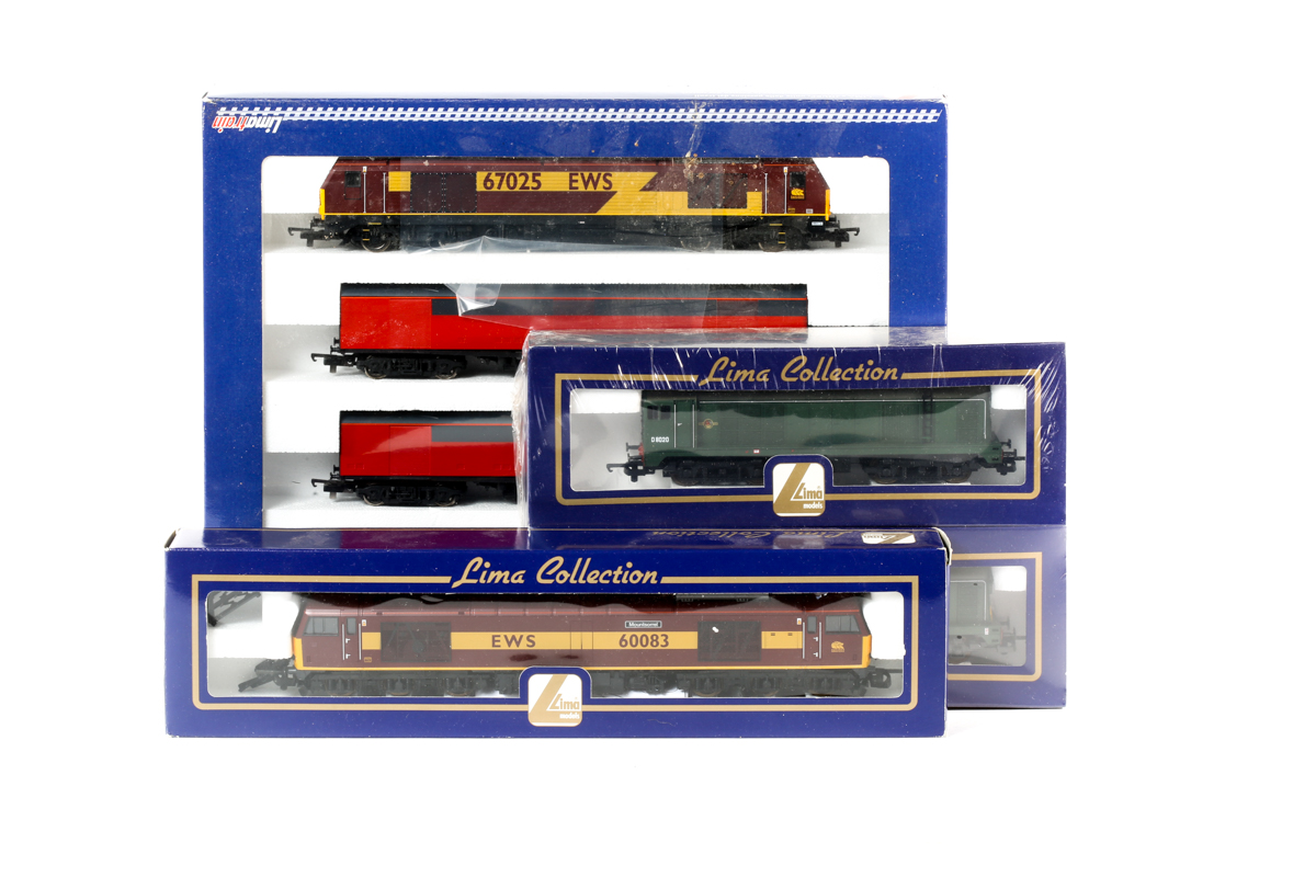 Lot 13 - 3 Lima items. A sealed 'set' comprising 2 BR Bo-Bo type 1 diesel locomotives. D8020 and D8163.