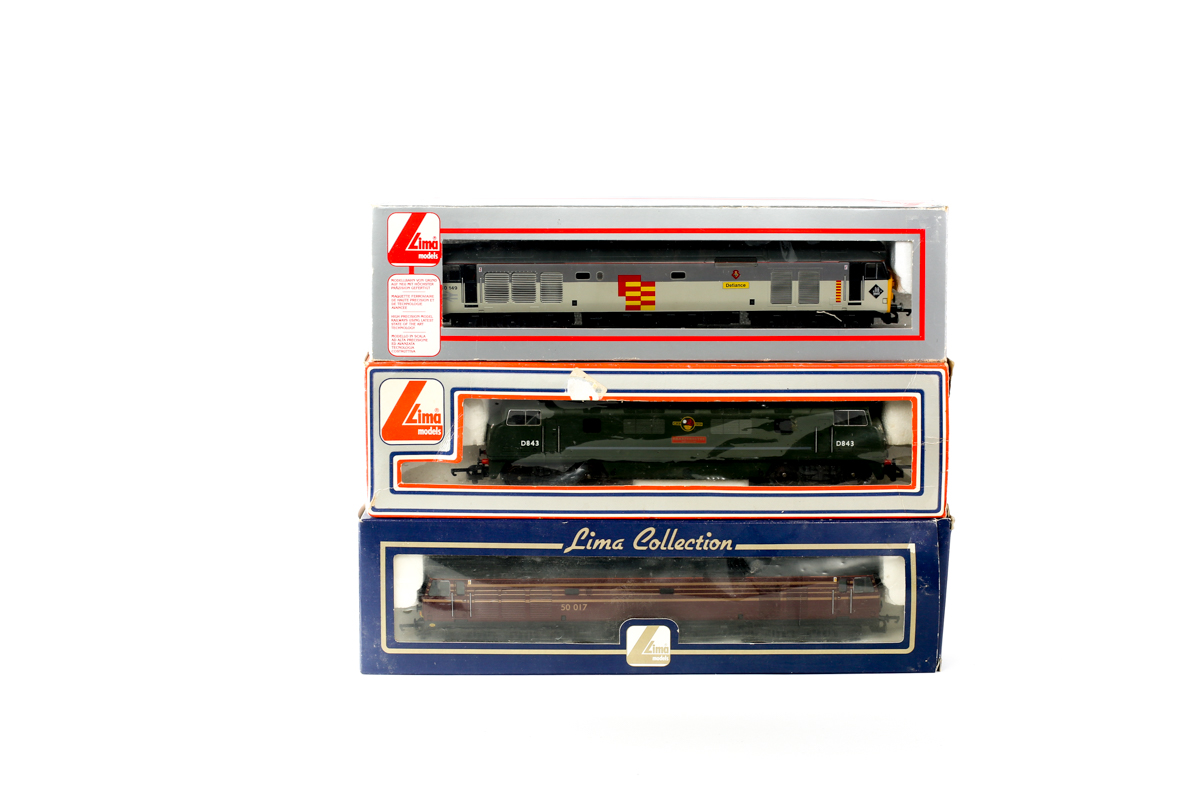 Lot 11 - 3 Lima diesel electric locomotives. 2x class 50 Co-Co - RN50-017 in maroon with gold lining and RN