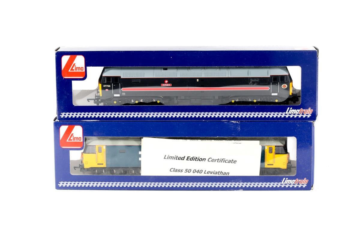 Lot 14 - 2 modern Lima 'Limatrain' (Jouef) diesel locomotives. A class 47 Co-Co RN47703 'Hermes' L204999 in