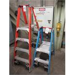 LOT - (2) WERNER FIBERGLASS FOLDING LADDERS, 2' AND 4', TREADS ON BOTH SIDES