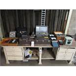 LOT - CONTENTS OF WORKBENCH TO INCLUDE: MISC DRAWER CONTENTS AND ELECTRICAL TEST EQUIPMENT ON TOP