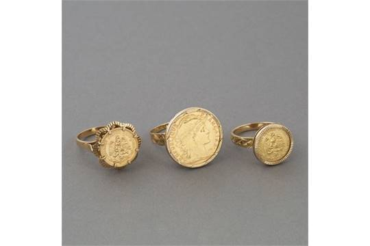 18ct Yellow Gold Ring Set With A Mexican Dos Pesos Coin Size 49 J Uk 4 5 8