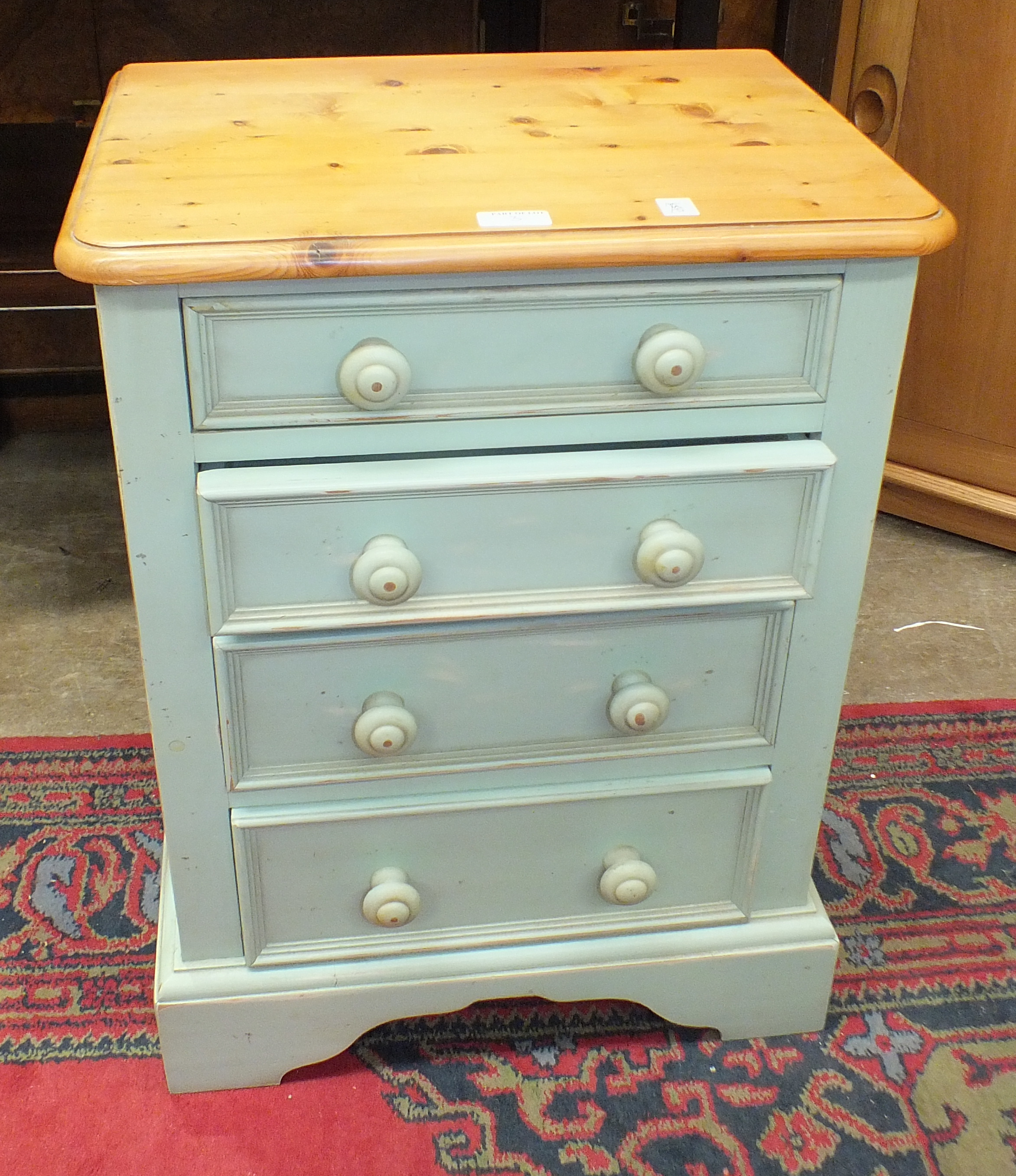 A pair of Yesterday's Pine of Gainsborough blue-painted narrow chests with six graduated drawers, - Image 2 of 2