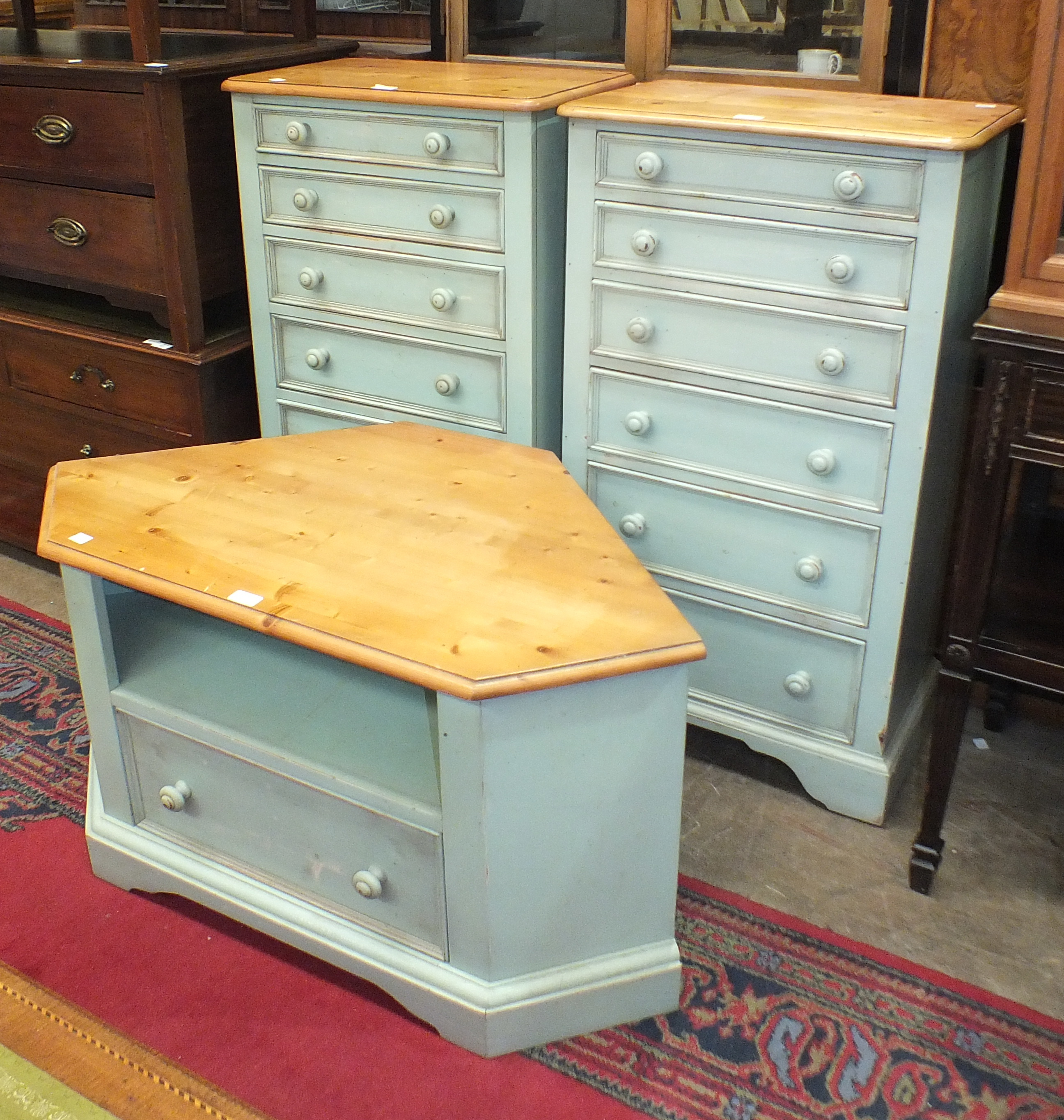 A pair of Yesterday's Pine of Gainsborough blue-painted narrow chests with six graduated drawers,