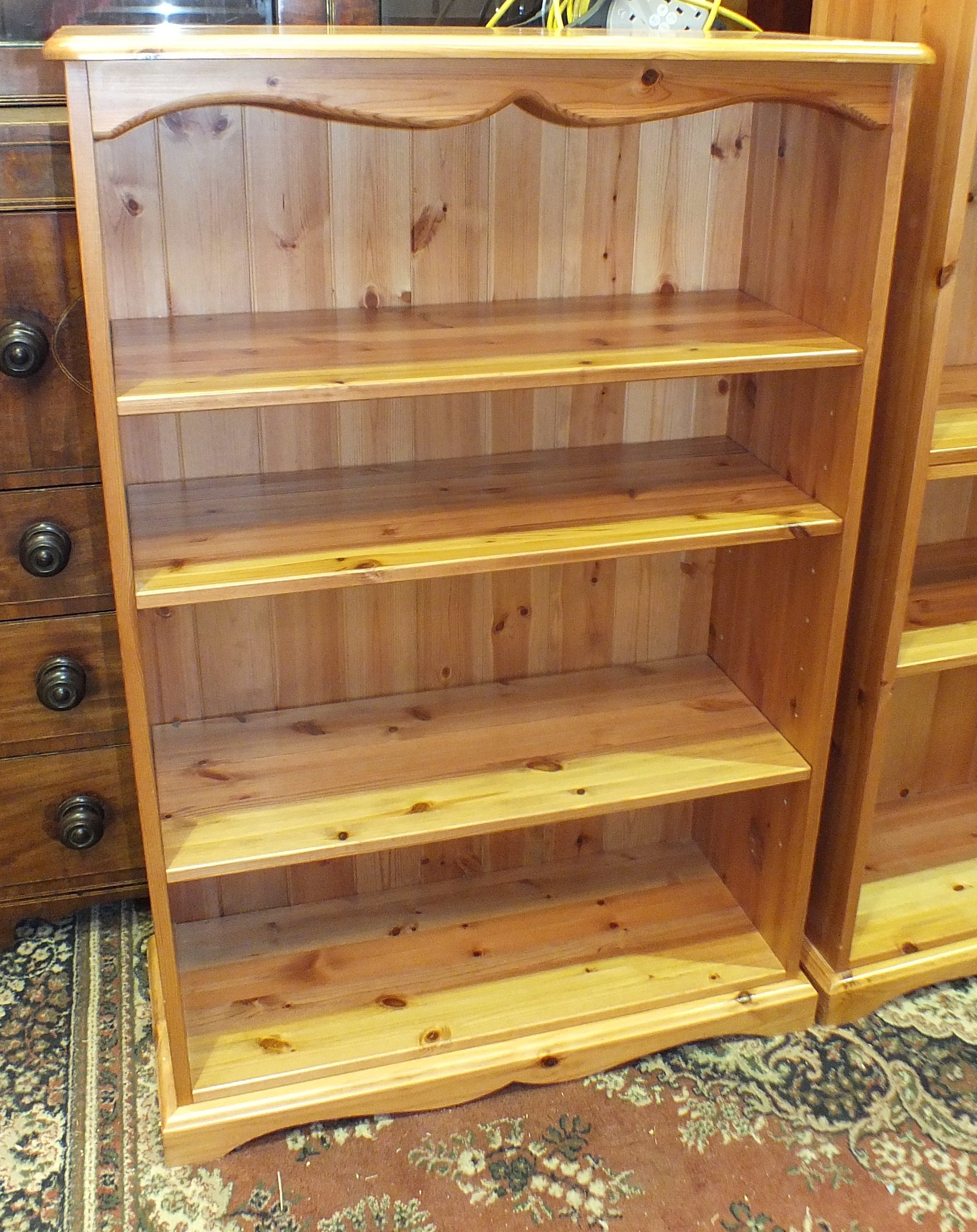 A set of modern pine open shelves, 80cm wide, 183cm high and a similar smaller set, 80cm wide, 120cm - Image 2 of 2
