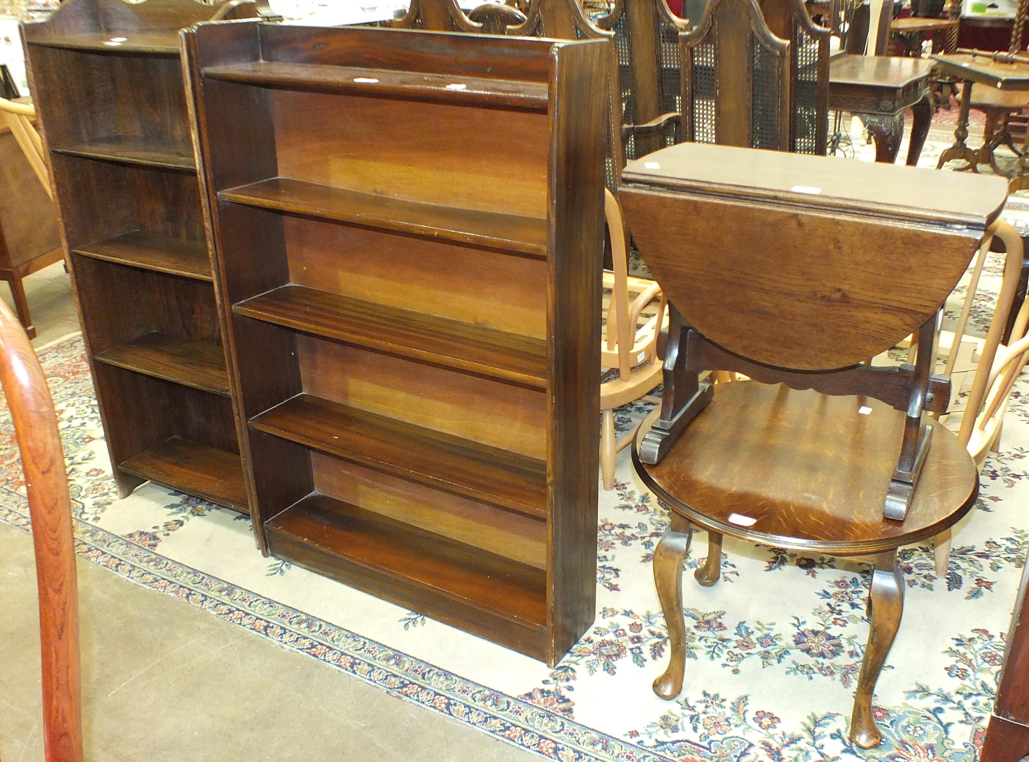 A set of wooden open bookshelves, 76cm wide, 110cm high, a set of small oak shelves, a small oak