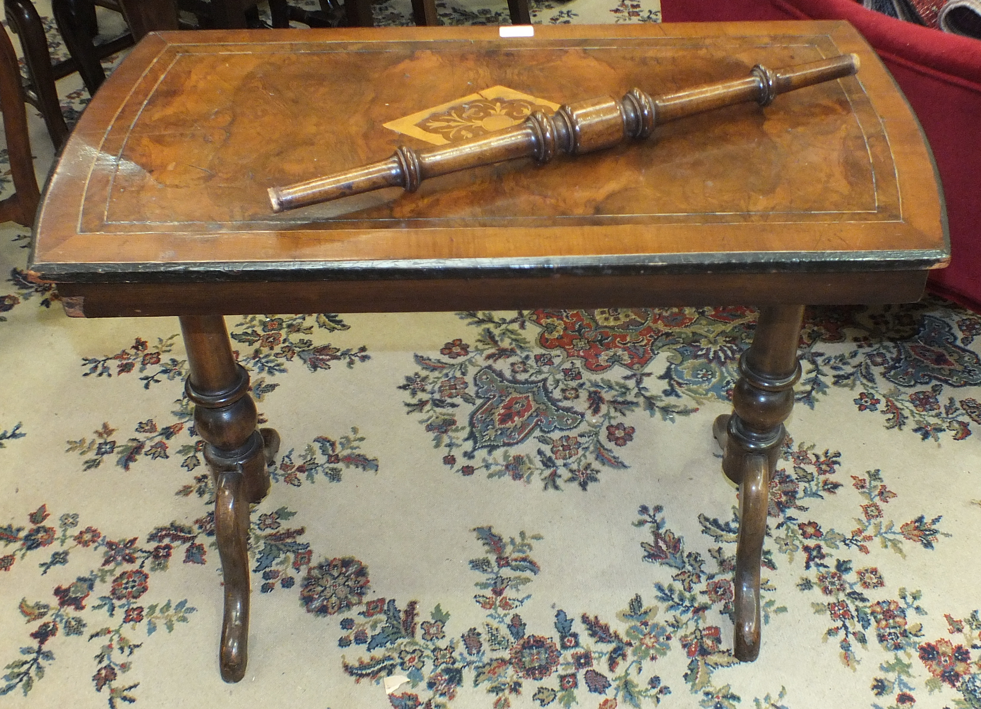 A late-Victorian inlaid and stained wood rectangular table, (a/f), an oak occasional table with