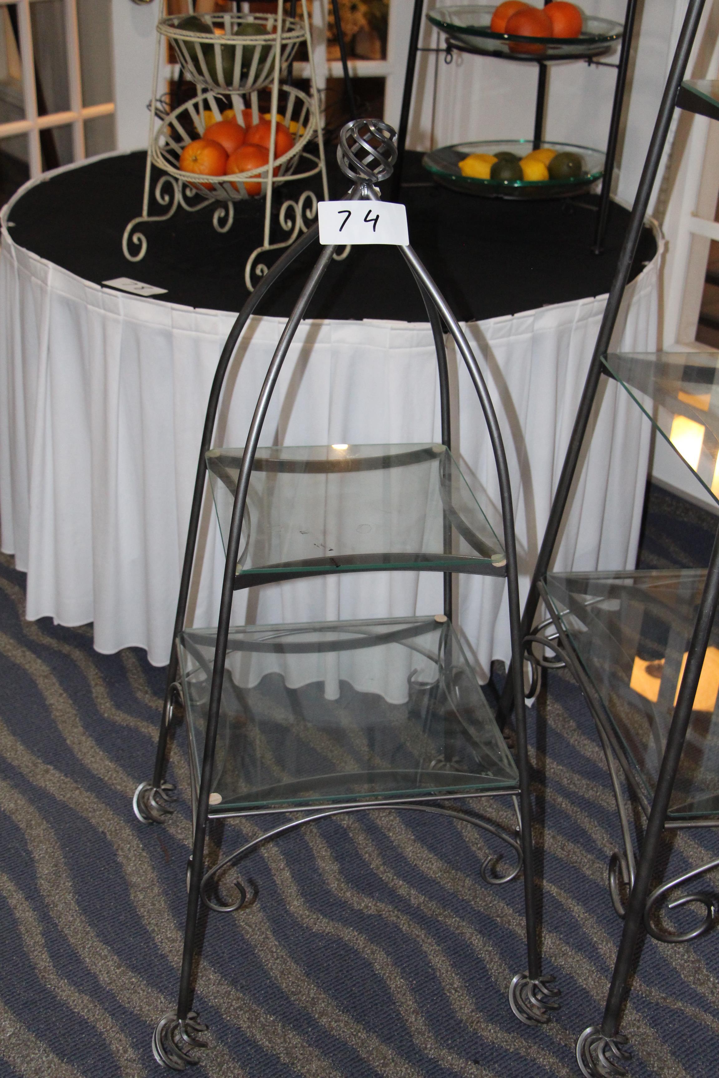 Lot 74 - Wrought iron rectangular 2 tier stand w/ glass shelves