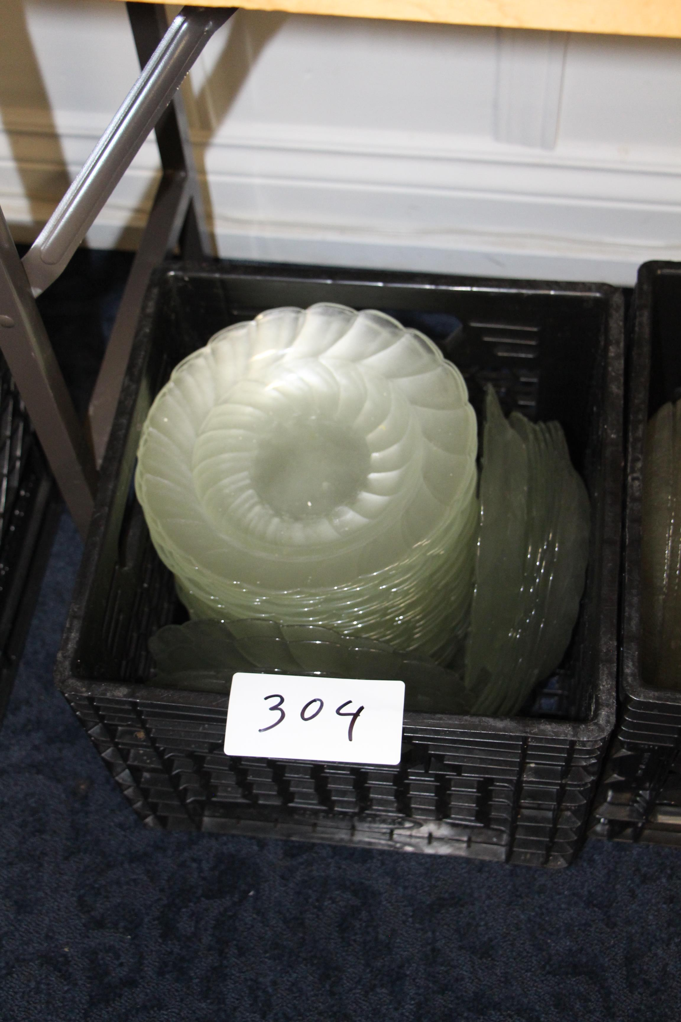 Lot 304 - Crate of glass desert/salad dishes