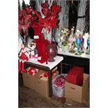 Lot misc valentine displays w / wooden table