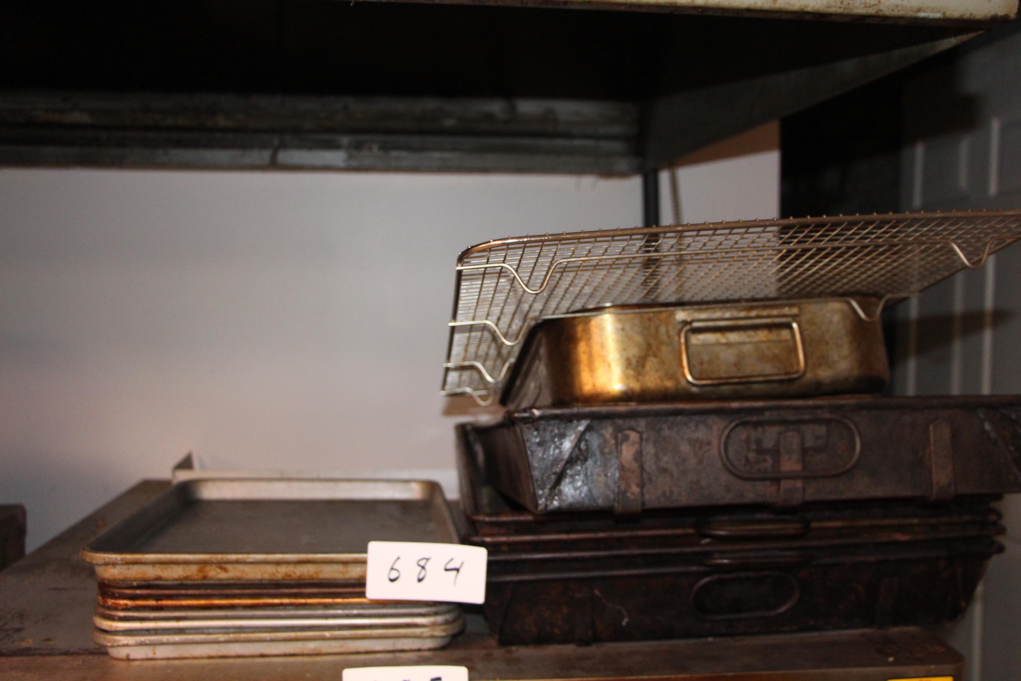 Lot 684 - Lot misc cooking pans etc