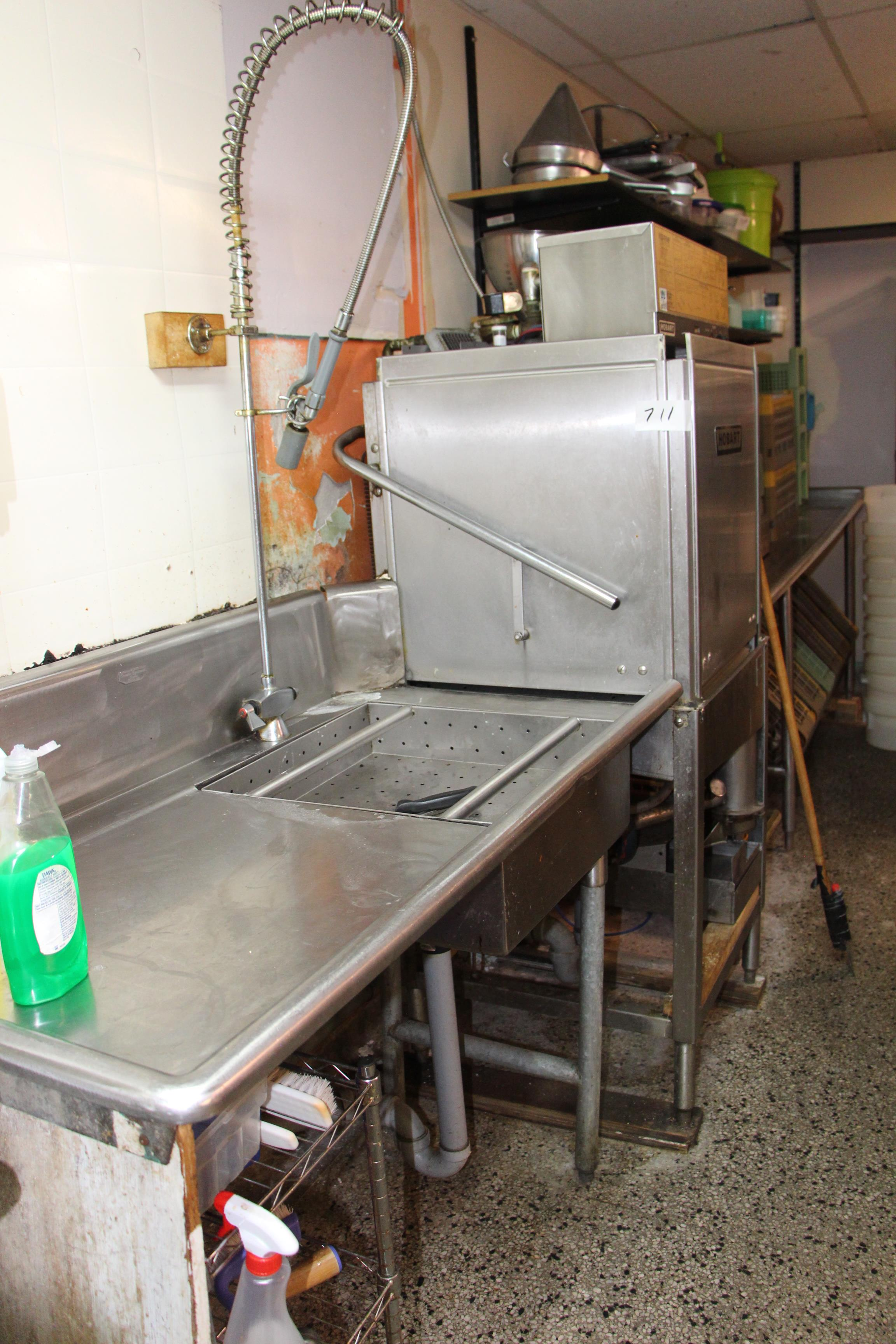 Lot 711 - Hobart pass thru dishwasher c/w infeed s/s table and outflow s/s table w/sink and sprayer